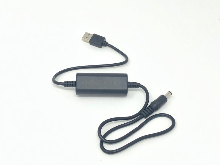 5v to 12v adapter - Power any of our single color LED suits or single color glasses from your portable power bank