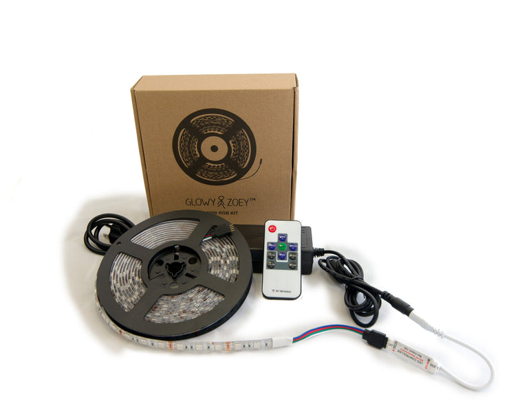 5 Meter RGB LED strip kit with power adapter and RF remote