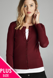 Plus Size Burgundy Button Up Cardi