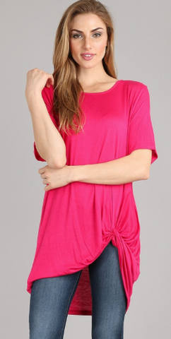 Plus-Short Sleeve Twist Knot Top