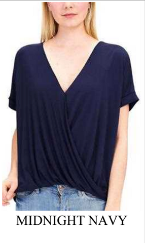 Cross Over Crepe Top Midnight Navy