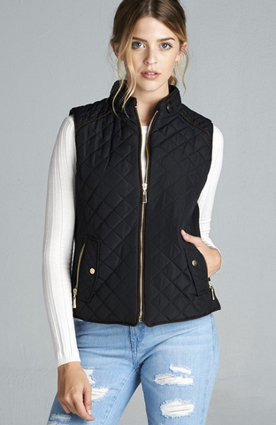 Plus Size Black Vest