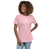 "Keep Calm 100% Cotton - Women's Relaxed Fit Tee ""Pink"""