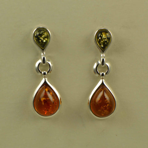 2 tone hinge drop post earring