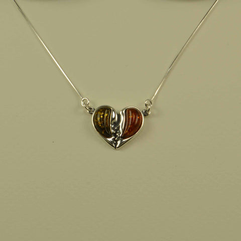 heart faces brown green necklac