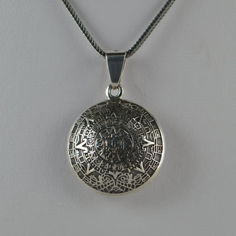 aztec calendar pendant 2 sided medium
