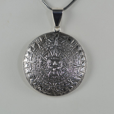 aztec calendar pendant 2 sided large
