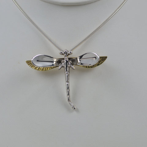two tone dragonfly pendant and pin medium