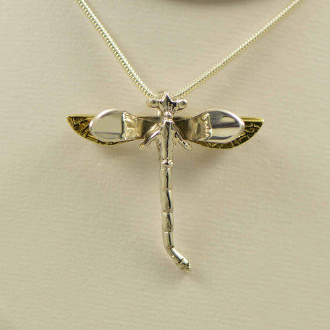 two tone dragonfly pendant and pin small