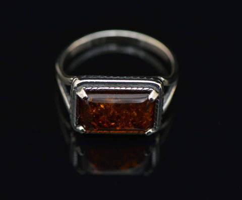 cognac rectangle rope ring