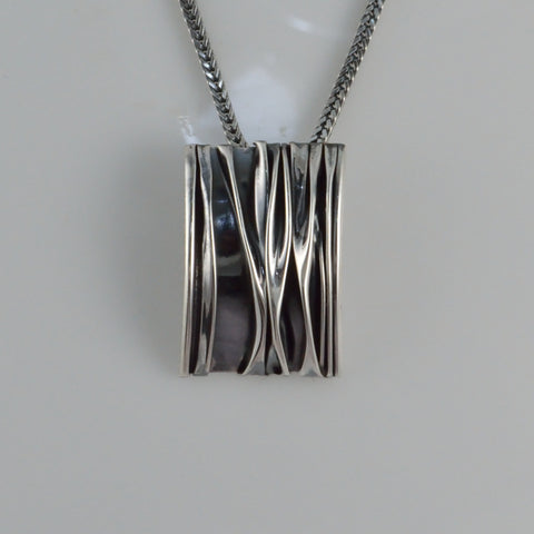 corrugated rectangle pendant