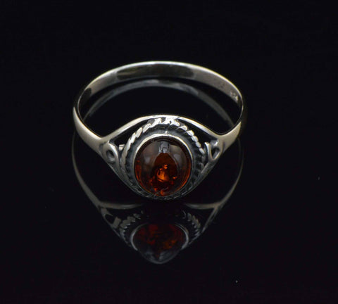 cognac oval rope ring