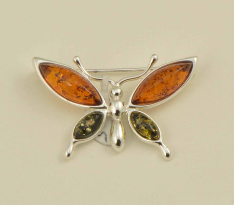 butterfly green brown pin