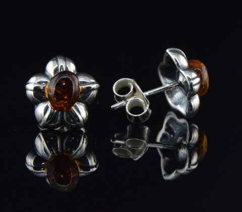 flower cognac amber earrings