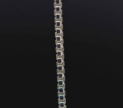 sterling silver box jewelry chain 2 mm. fine detail