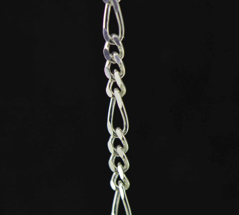 sterling silver figaro jewelry chain 2 mm. fine detail
