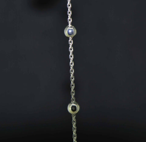 sterling silver 4 mm. bead station curb chain fine detail