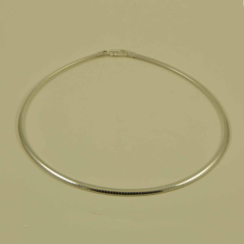 sterling silver omega 4 mm. jewelry chain necklace