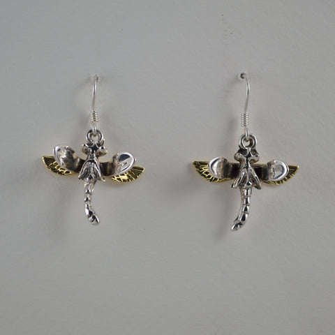two tone dragonfly earrings