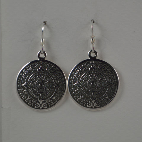aztec calendar earrings large