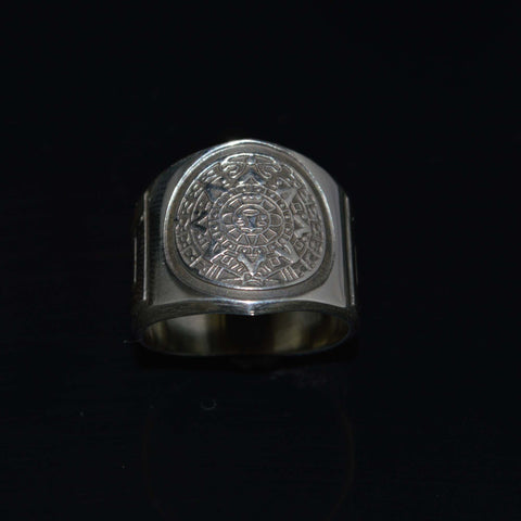 aztec calendar graduated ring