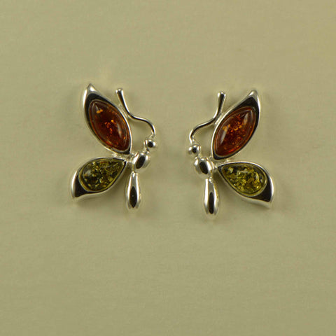 butterfly green brown post earrings