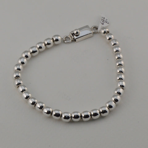 classic all silver beaded bracelet - 6 mm. round beads