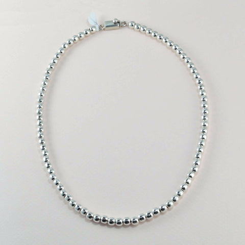 classic all silver beaded necklace - 6 mm. round beads