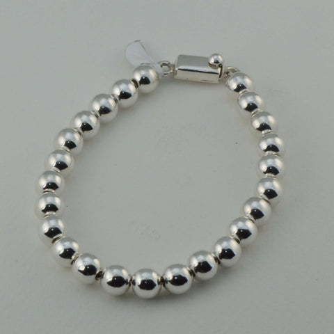 classic all silver beaded bracelet - 8 mm. round beads