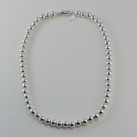 classic all silver beaded necklace - 8 mm. round beads