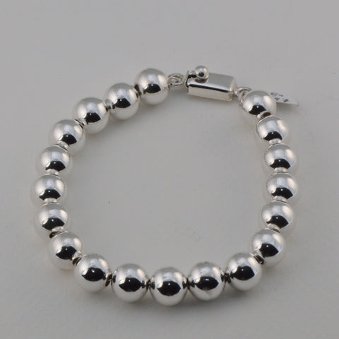 sterling silver 10 millimeter round spherical bead bracelet with box clasp