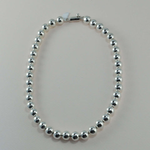 classic all silver beaded necklace - 10 mm. round beads