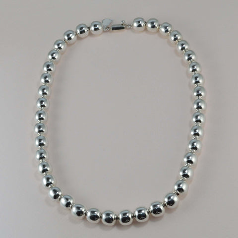 classic all silver beaded necklace - 12 mm. round beads