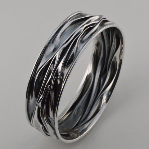 """Corrugated"" Oxidized  Sterling Silver"
