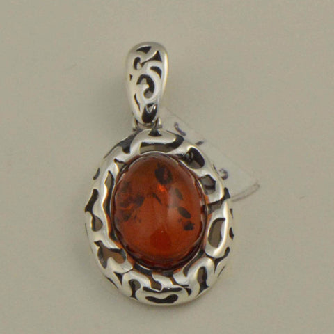 filigree oval cognac amber