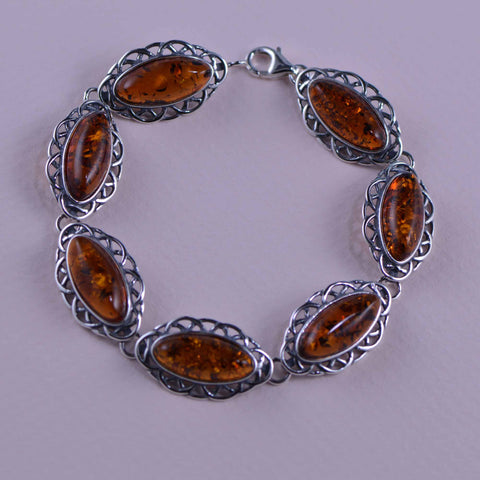 scalloped cognac oval bracelet