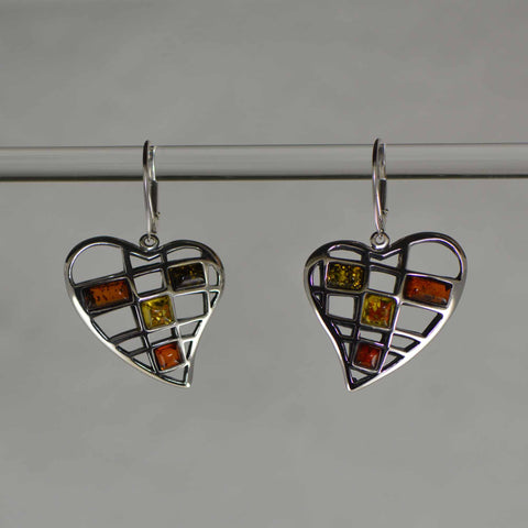 mesh heart tricolor earrings