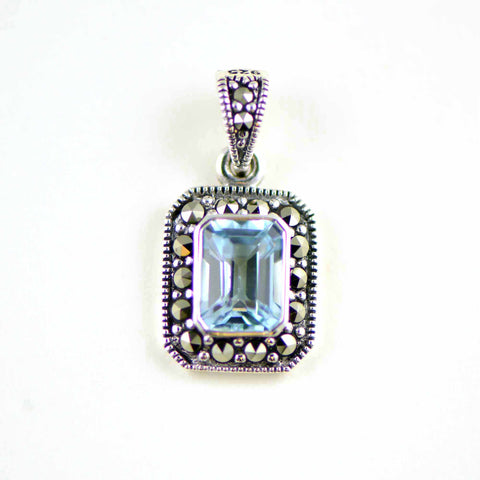 blue topaz rectangle marcasite pendant