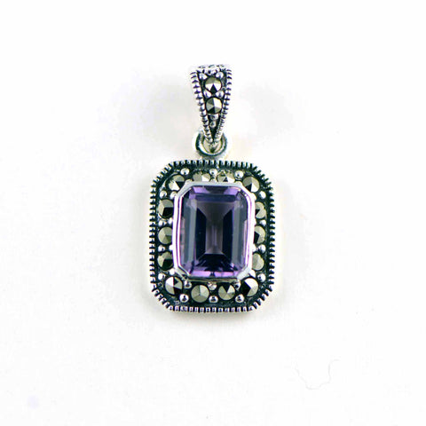 amethyst rectangle marcasite pendant