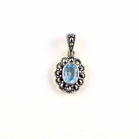 "blue topaz ""fancy"" small pendant"