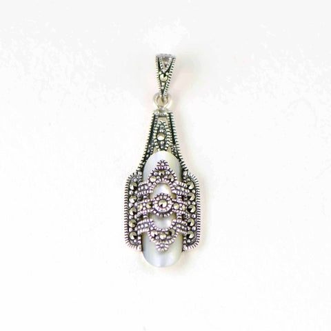 "mother of pearl ""captive"" marcasite pendant"