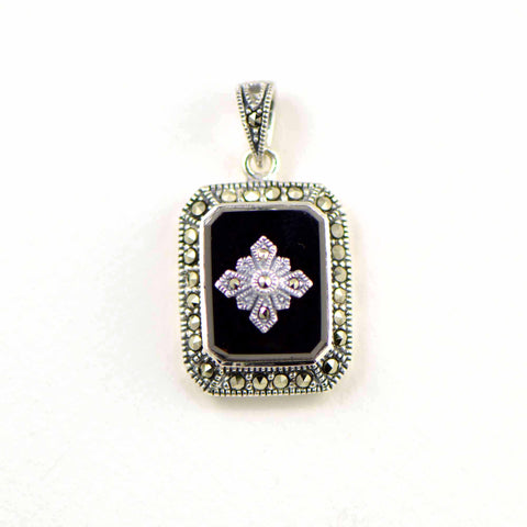 onyx rectangle with star marcasite pendant