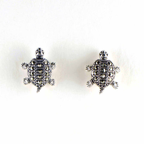 marcasite turtle post earrings