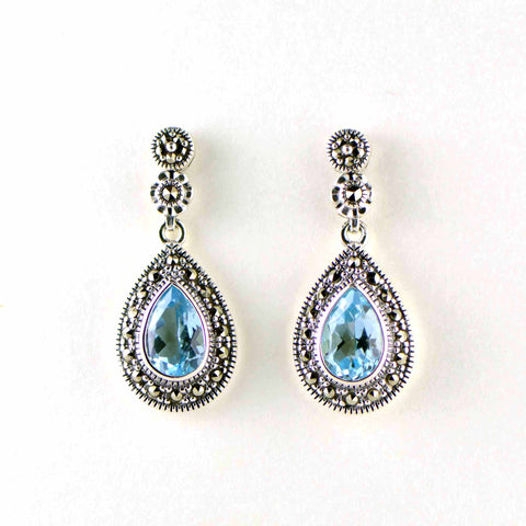 blue topaz teardrop marcasite earrings