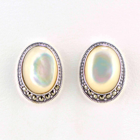 mother of pearl large marcasite earrings