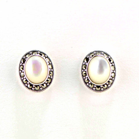 mother of pearl small marcasite earrings