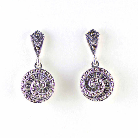 nautilus shell marcasite post earrings