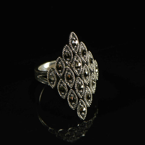 marcasite diamond pointed ring