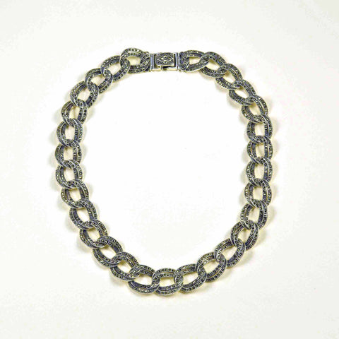 marcasite double curb necklace