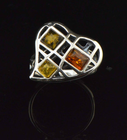 mesh heart tricolor ring
